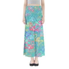 Flamingo Pattern Maxi Skirts by Valentinaart