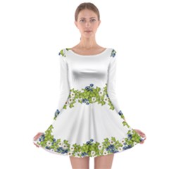 Birthday Card Flowers Daisies Ivy Long Sleeve Skater Dress