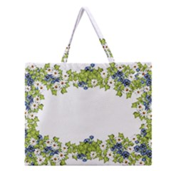 Birthday Card Flowers Daisies Ivy Zipper Large Tote Bag by Nexatart