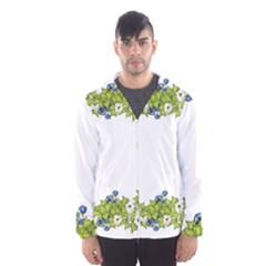 Birthday Card Flowers Daisies Ivy Hooded Wind Breaker (men)