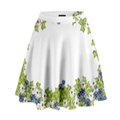Birthday Card Flowers Daisies Ivy High Waist Skirt by Nexatart