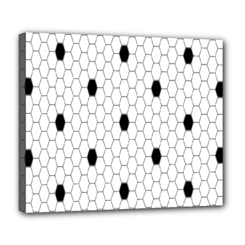 Black White Hexagon Dots Deluxe Canvas 24  X 20   by Mariart