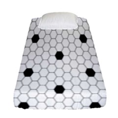 Black White Hexagon Dots Fitted Sheet (single Size) by Mariart