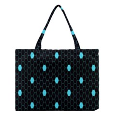 Blue Black Hexagon Dots Medium Tote Bag by Mariart