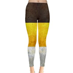 Wooden Board Yellow White Black Leggings  by Mariart