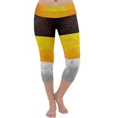 Wooden Board Yellow White Black Capri Yoga Leggings by Mariart