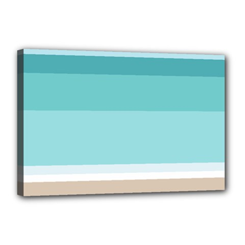 Dachis Beach Line Blue Water Canvas 18  X 12  by Mariart