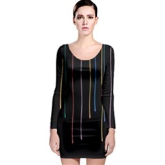 Falling Light Lines Perfection Graphic Colorful Long Sleeve Bodycon Dress by Mariart