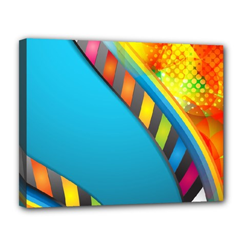 Color Dream Polka Canvas 14  X 11  by Mariart
