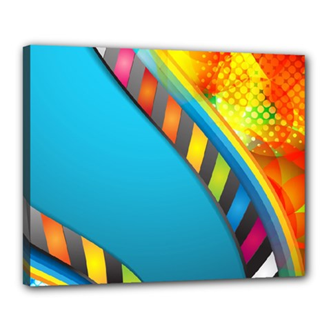 Color Dream Polka Canvas 20  X 16  by Mariart