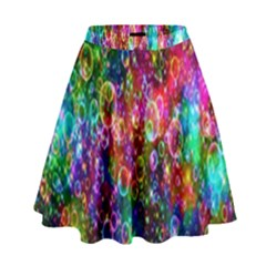 Colorful Bubble Shining Soap Rainbow High Waist Skirt by Mariart