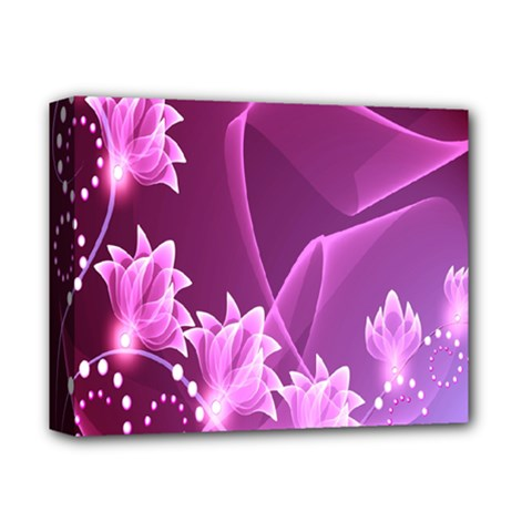 Lotus Sunflower Sakura Flower Floral Pink Purple Polka Leaf Polkadot Waves Wave Chevron Deluxe Canvas 14  X 11  by Mariart