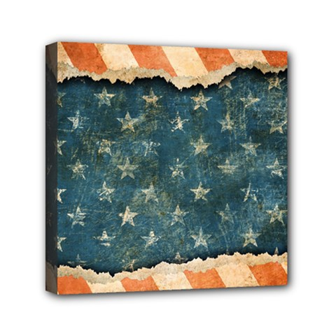 Grunge Ripped Paper Usa Flag Mini Canvas 6  X 6  by Mariart