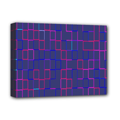 Grid Lines Square Pink Cyan Purple Blue Squares Lines Plaid Deluxe Canvas 16  X 12   by Mariart