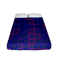 Grid Lines Square Pink Cyan Purple Blue Squares Lines Plaid Fitted Sheet (full/ Double Size) by Mariart
