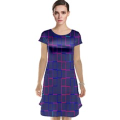 Grid Lines Square Pink Cyan Purple Blue Squares Lines Plaid Cap Sleeve Nightdress by Mariart