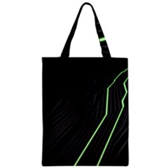 Green Lines Black Anime Arrival Night Light Zipper Classic Tote Bag by Mariart