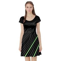 Green Lines Black Anime Arrival Night Light Short Sleeve Skater Dress