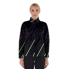 Green Lines Black Anime Arrival Night Light Winterwear by Mariart