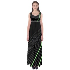 Green Lines Black Anime Arrival Night Light Empire Waist Maxi Dress by Mariart
