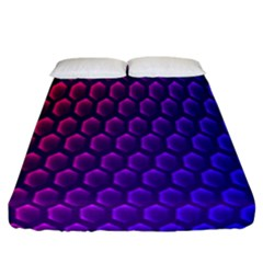 Hexagon Widescreen Purple Pink Fitted Sheet (california King Size) by Mariart