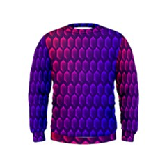 Hexagon Widescreen Purple Pink Kids  Sweatshirt by Mariart