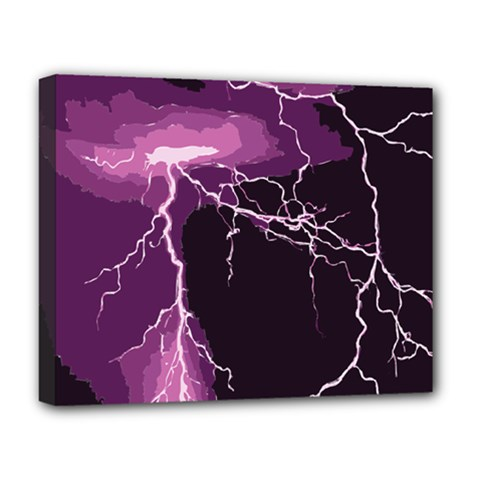 Lightning Pink Sky Rain Purple Light Deluxe Canvas 20  X 16   by Mariart