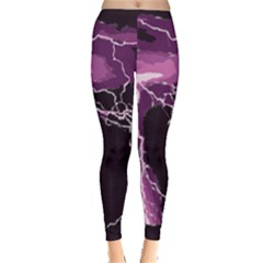 Lightning Pink Sky Rain Purple Light Leggings  by Mariart
