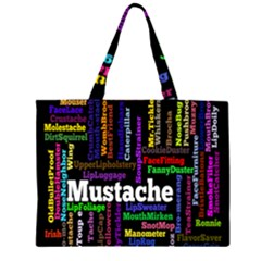 Mustache Zipper Large Tote Bag by Mariart