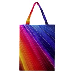 Multicolor Light Beam Line Rainbow Red Blue Orange Gold Purple Pink Classic Tote Bag by Mariart