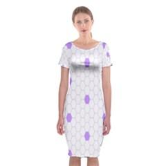 Purple White Hexagon Dots Classic Short Sleeve Midi Dress by Mariart