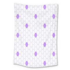 Purple White Hexagon Dots Large Tapestry by Mariart