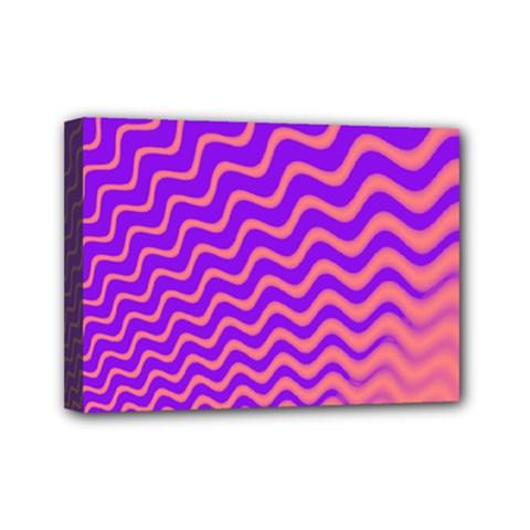 Original Resolution Wave Waves Chevron Pink Purple Mini Canvas 7  X 5  by Mariart