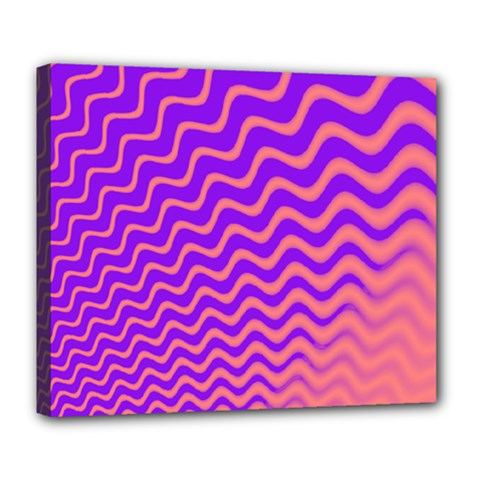 Original Resolution Wave Waves Chevron Pink Purple Deluxe Canvas 24  X 20   by Mariart