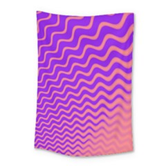 Original Resolution Wave Waves Chevron Pink Purple Small Tapestry by Mariart