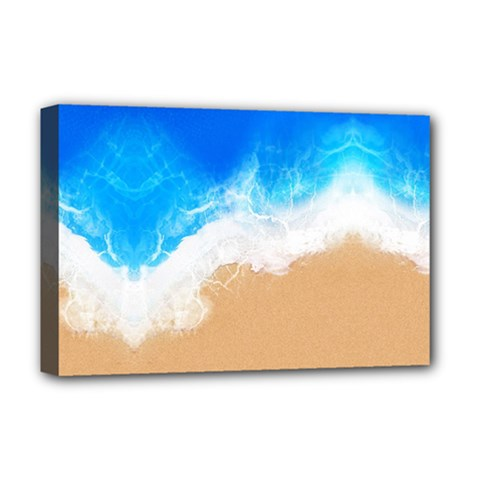 Sand Beach Water Sea Blue Brown Waves Wave Deluxe Canvas 18  X 12   by Mariart