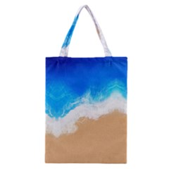 Sand Beach Water Sea Blue Brown Waves Wave Classic Tote Bag by Mariart