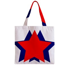 Stars Red Blue Zipper Grocery Tote Bag by Mariart