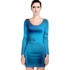 Fractals Lines Wave Pattern Long Sleeve Bodycon Dress