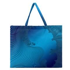 Fractals Lines Wave Pattern Zipper Large Tote Bag by Nexatart
