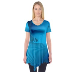 Fractals Lines Wave Pattern Short Sleeve Tunic