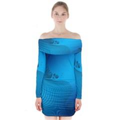 Fractals Lines Wave Pattern Long Sleeve Off Shoulder Dress