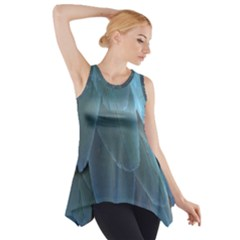 Feather Plumage Blue Parrot Side Drop Tank Tunic