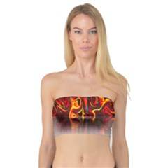 Effect Pattern Brush Red Orange Bandeau Top