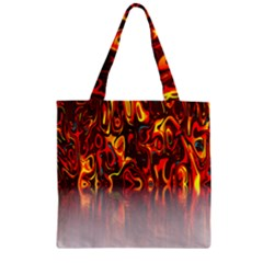 Effect Pattern Brush Red Orange Zipper Grocery Tote Bag by Nexatart