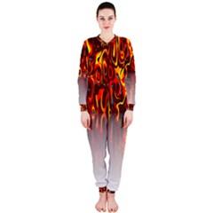 Effect Pattern Brush Red Orange Onepiece Jumpsuit (ladies)
