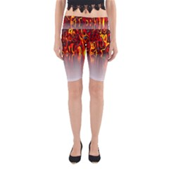 Effect Pattern Brush Red Orange Yoga Cropped Leggings