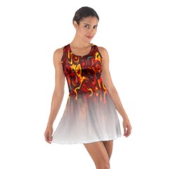 Effect Pattern Brush Red Orange Cotton Racerback Dress