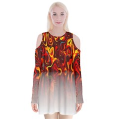 Effect Pattern Brush Red Orange Velvet Long Sleeve Shoulder Cutout Dress