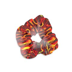 Effect Pattern Brush Red Orange Velvet Scrunchie